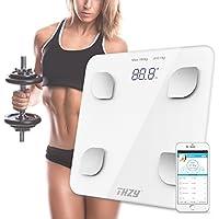 Escala de grasa de cuerpo de Bluetooth,THZY Escala de baño de peso de cuerpo digital, Escala de pantalla retroiluminada grande inteligente para Peso de cuerpo, Grasa de cuerpo, Agua, Masa muscular, IMC, BMR, Masa ósea y Grasa visceral (Blanco)