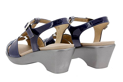 PieSanto Chaussure Femme Confort en Cuir 1856 Sandales à Semelle Amovible Confortables Amples Marino