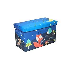 Bieco Aufbewahrungsbox mit Deckel Kinder PFadfinder, faltbar, Sitzhocker mit Sitzgelegenheit, und Polsterung, Spielzeugkiste mit Stauraum, Sitztruhe, Jungen & Mädchen, 46 L, Belastbar bis 80 Kg, blau