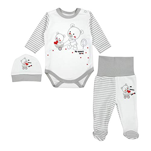 TupTam Baby Unisex Bekleidungsset mit Aufdruck 3 TLG, Farbe: Streifenmuster Grau/Bärchen Herz, Größe: 56