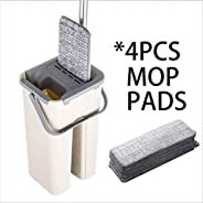 JFBSGVJ mop Automatic Wet Or Dry Mop And Bucket System Hands-free Washable Reusable Microfiber Mop For Floor C