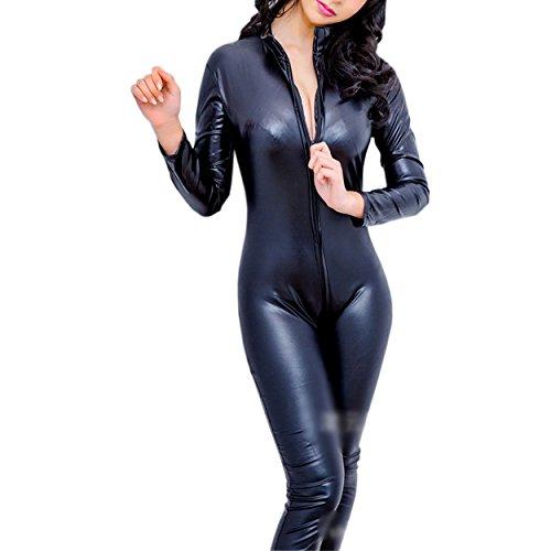 SSScok Schwarz Sexy Frau Latex Catsuit Schick Bodysuit Erotische Leder sexy Dessous für Frauen Clubwear Nachtwäsche
