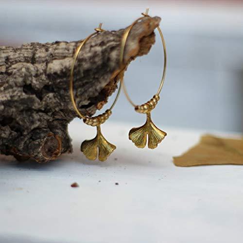 Ginkgo Biloba Blatt Ohrringe, Blattgold Charme Creolen, botanische Natur Schmuck, Liebhaber Pflanzen Geschenk -