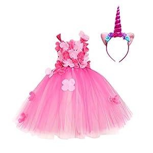 TENDYCOCO Mädchen Einhorn Kostüm Einhorn Horn Stirnband Geschichteten Blume Tutu Kleid für Kinder Einhorn Party Kleid