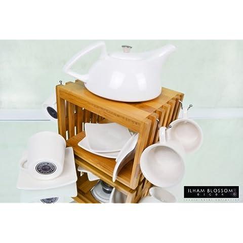 Ilham Blossom Decor - Juego de té o café de 10 piezas (incluye tetera/cafetera, 4tazas, 4platillos, caja de madera y portavelas), diseño moderno, color blanco