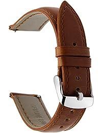 TRUMiRR 22mm Crazy Horse Reloj de cuero genuino Correa de liberación rápida para Samsung Gear S3 Classic Frontier, Gear 2 Neo Live, Moto 360 2 46mm, Asus ZenWatch 1 2 Hombres, Pebble Time