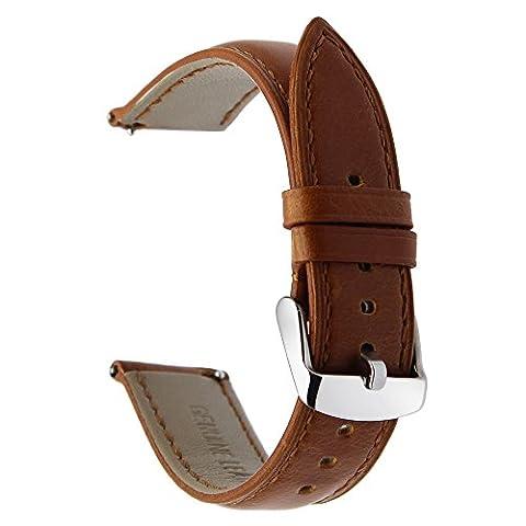 TRUMIRR 22mm Crazy Horse Bracelet en cuir véritable Bracelet pour Samsung Gear S3 Classic Frontier, Gear 2 Neo Live, Moto 360 2 46mm, Asus ZenWatch 1 2 Hommes, Pebble Time