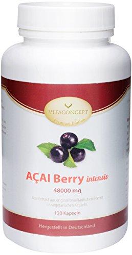 ACAI Berry 48000 mg (TD) * DAS ORIGINAL * maximale Dosierung! 120 Kapseln - Fettverbrennung & Diät - Anti Aging - MADE IN GERMANY - die Diät der Hollywoodstars - die Wunderbeere aus Brasilien - VITACONCEPT