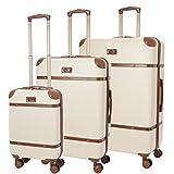 Aerolite Moderner Retro Vintage ABS Hartschalenkoffer mit 4 Doppelspinnrädern 3 Teilig Gepäck-Set,...