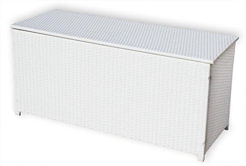 KMH Kissentruhe/Kissenbox Emma 130x50x61 cm aus weissem Polyrattan (4 String) (#106090)