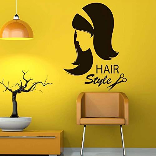 Dalxsh Friseur Wandaufkleber Dekoration Vinyl Schere Sex Mädchen Haarschnitt Interieur Friseur Abnehmbare Schönheitssalon Wandtattoo59X43 Cm