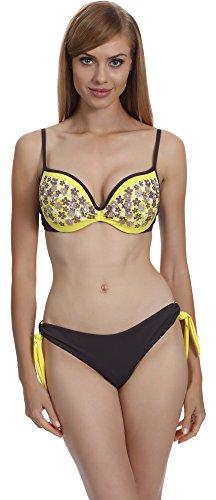 Merry Style Damen Bikini Set F-30/H (Gelb (007), Cup 80 D / Unterteil 40) (007 Kostüme Für Frauen)