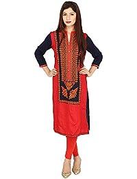 Avani Corporation A-Line Long Sleeve Kurti For Women's ( J0001, Pink & Navy Blue )