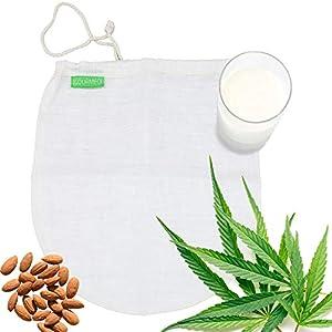 GOURMEO® Nussmilchbeutel aus natürlicher Hanffaser - für vegane Nussmilch & Mandelmilch - Feinmaschiges Filtertuch, Seiher, Passiertuch