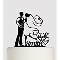 Wedding Cake topper Bride and Groom personalised with your surname. Ideal handmade wedding cake decoration, wedding party Acrylic cake topper MR & Mrs Cake topper, Available in Gold Mirror, Gold Sparkle, Silver Mirror, Silver Sparkle, Bronze Mirror, Black,Blue, Pink, Red,Purple, Yellow and White