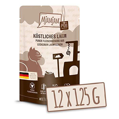 MjAMjAM - Premium Nassfutter für Katzen - Quetschie - purer Fleischgenuss - köstliches Lamm pur, 12er Pack (12 x 125 g), getreidefrei mit extra viel Fleisch