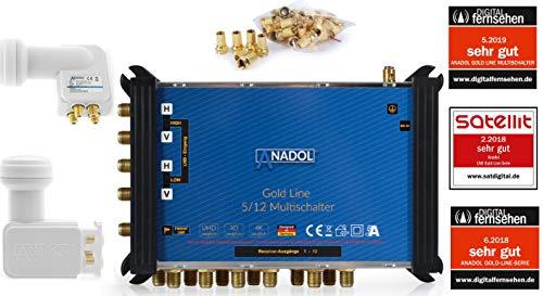 LNB + MULTISCHALTER Set: Anadol Gold Line 5/12 digitaler Multischalter [ Test SEHR GUT ] für 1 Satellit und 12 Ausgänge/Receiver + Anadol Quattro LNB [Test 2X SEHR GUT] 25 vergoldete F-Stecker gratis