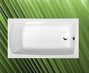 LILY baignoire 120 x 70 x 39 cm en acrylique blanc, avec wannenfüßen/wandankern