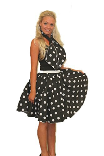 55,9 cm Black Rock n Roll bianco gonna a pois e sciarpa set 1950S 1960S Fancy Dress Womens idea