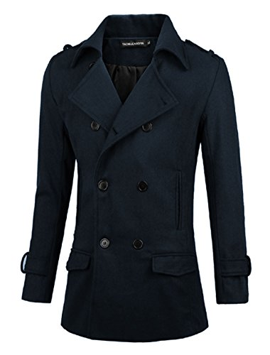 Hommes Convertible Col Double Boutonnage Fashion Caban Bleu Marine