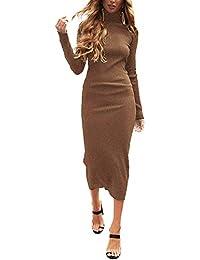 Auxo Femme Robe Pull Longue Sexy Pull à Col Haut Manche Longue Pulls Moulant Slim Robe Automne Hiver Fille Pull-Over 01-Café léger 2XL