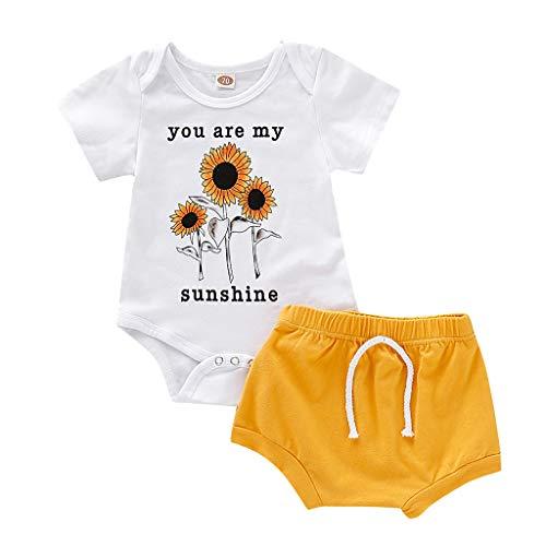 Knowin-baby body Sommer Kinder Kurzarm Brief Robe Sonnenblume Top Shorts 2-teiliges Set mit You Are My Sunshine Brief Drucken Sonnenblume Strampler (80er Party Kostüm Ideen Für Jungs)