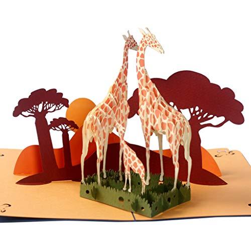 Pop-Up-Grußkarten mit süßem Giraffen-Familie, beeindruckend, handgefertigt, ideales Geschenk für jeden Anlass, Muttertag, Geburtstag, mit weiß glänzenden Kartenhaltern für Tierliebhaber. (Einfache Halloween-ideen Für Die Schule)