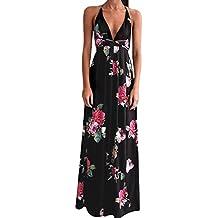 Vestidos Mujer Verano Elegante de Maxi Vestir Mangas Corta de para Playa Fiesta,Estampado Floral