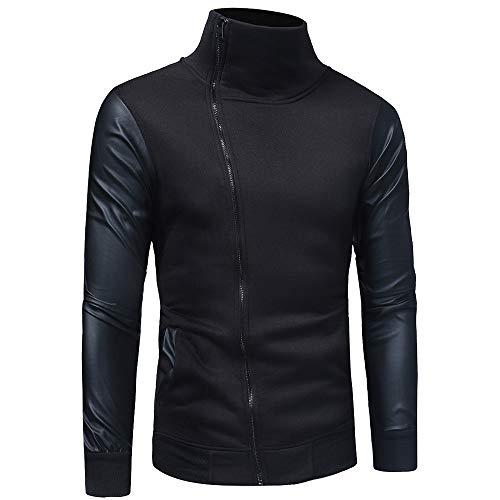 KPILP Herren Herbst Winter Solid Langarm Reißverschluss Kapuzenpullover Mantel Top Sweatshirt Sportkleidung(W-schwarz, M)