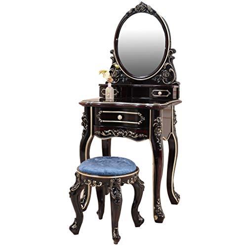 JKAD Freistehender Kosmetikspiegel Auf Ständer Europäisches Luxusschlafzimmer Wasserdichter Korrosionsschutz-Lack-Schminktisch (Color : Ebony Gold)