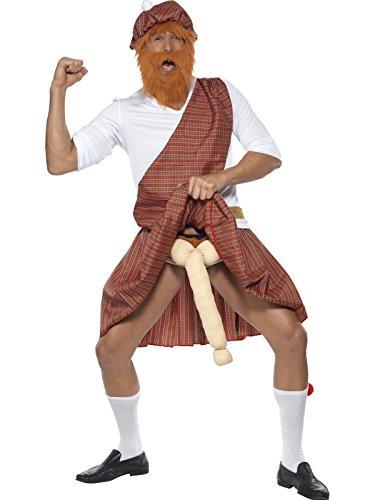 Smiffys, Herren Gut bestückter Highlander Kostüm, Mütze, Bart, Oberteil, Schärpe, Kilt, Tasche, Strümpfe und bestes…
