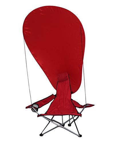 takestop® Klappstuhl mit Sonnenschirm OMBREGGIANTE rot für Camping, Strand, Garten, Regenschirm aus Metall mit Armen, tragbar, leicht