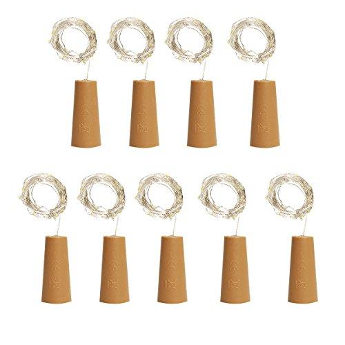 Cusfull 9 Stk LED Flaschenlicht Kork Form Lichterkette Weinflasche Kupferdraht Licht für Party Hochzeit Weihnachten Haus Garten Deko Stimmung Lichter (warm weiß)