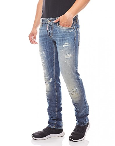 DSQUARED2 Hose Designer Jeans im Used-Look Herren Denim Blau, Größenauswahl:52 (Dsquared2 Herren Hose)
