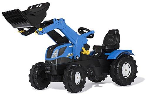 *Rolly Toys 611256 rollyFarmtrac NewHolland | Trettraktor mit Frontlader | Traktor mit Motorhaube zum Öffnen, Sitzverstellung, Flüsterreifen | für Kinder ab 3 Jahren | Farbe blau*