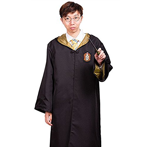 Harry Potter Gryffindor Slytherin Ravenclaw Hufflepuff Adult Fancy Robe Cloak Costume And Tie (X-Large, Hufflepuff (Robe Hufflepuff)