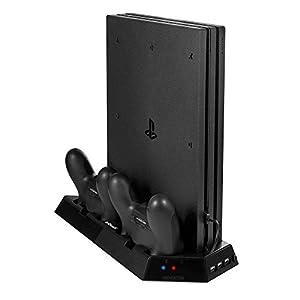 IeGeek PS4 PRO Standfuß mit Dual Ladestationen und Kühler-Fans, Vertical Stand Lüfter für PS4 Pro Playstation Controller PS4 Kühlventilator mit USB-HUB Ports