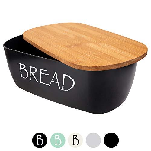 ORION Brotkasten schwarz Brotbox mit Bambus Deckel Brot BREAD Bamboodeckel ...