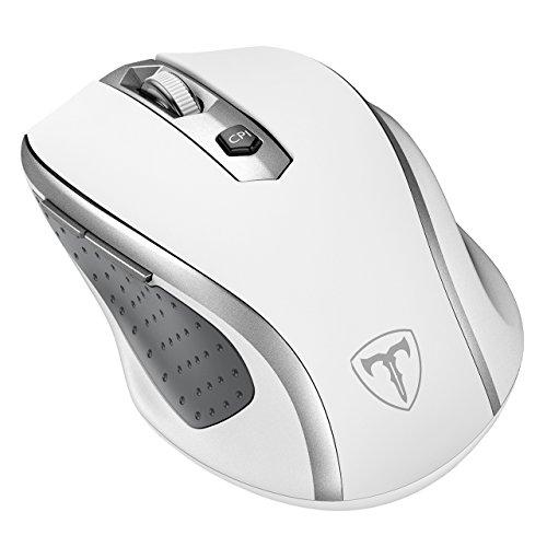 VicTsing Mini Schnurlos Maus Wireless Mouse 2.4G 2400 DPI 6 Tasten Optische Mäuse mit USB Nano Empfänger Für PC Laptop iMac Macbook Microsoft Pro, Office Home- Weiß.