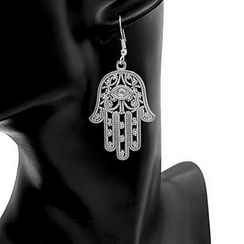 b65b1e3a0 Orecchini HAMSA   Acciaio inossidabile   Mano di Fatima   antico   Khamsa    argento