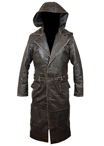 F&H Men's Assassin's Creed Syndicate Jacob Frye Hooded Coat with Quilting Back M Brown