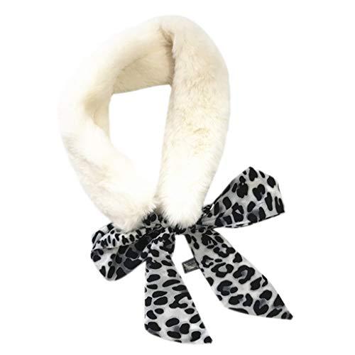 Kofun Frauen Schal, 7X40 cm Womens Warme Plüsch Kunstpelz Schal Leopardenmuster Mit Kragen Schal Schal Und Schal Weißer Panther - Plüsch-schals