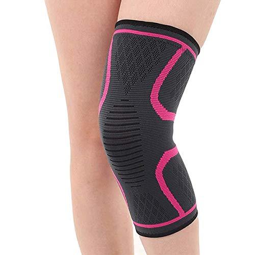 FREEMASTER Knie Bandagen Knieschoner Elastisch Sport Atmungsaktiv Kniegelenk Kompression (Rosa, L)