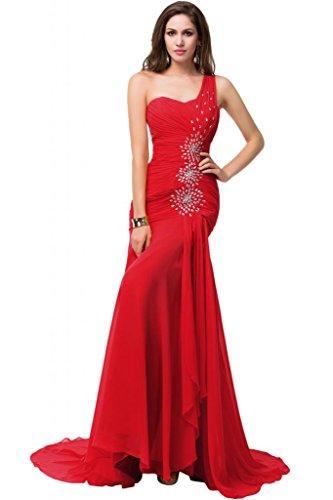 Sunvary elegante Trailing imbottito decorato con strisce di tessuto pieghettato, in Chiffon, da donna, a tacco basso, Gowns Rosso
