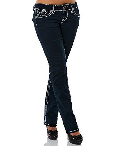 Damen Jeans Straight Leg (Gerades Bein Dicke Nähte Naht weitere Farben) No 12923, Größe:36;Farbe:Navy (Nadelstreifen-rock Navy)