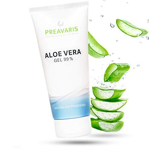 Aloe Vera Gel - 99% Bio Aloe Vera Gel für Gesicht, Haare und Körper - Natürliches Feuchtigkeitsgel - After Sun Beruhigt und Kühlt Empfindliche und Strapazierte Haut - Dermatologisch Getestet, 100 ml -