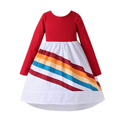 FEIXIANG Kleinkind Mädchen Skater Kleid Kinder Langarm Regenbogen Splice Langarm Kleid Festzug Kleid Geburtstag Party Prinzessin Kleid