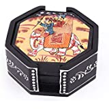 Harit Handicrafts Decorative Coaster Set. Handmade Exclusive Wooden Hand-Painted Royal Elephant Ride Hexagonal Tea Coasters Set Of 6. Multipurpose Coffee/Drink Coasters With Holder - SEHWH1118009
