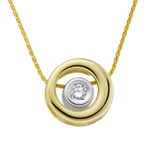 Diamond Line Damen - Halskette 375er Gold 1 Diamant ca. 0,07 ct, gelbgold