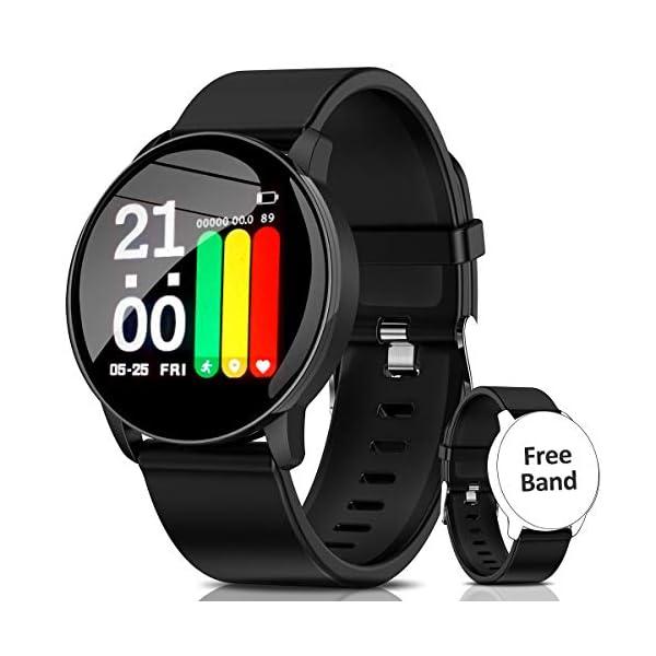 AIMIUVIE Smartwatch, Reloj Inteligente IP67 con Pulsómetro Podómetro Presión Arterial Oxígeno de Sangre, Sueño, Reloj Inteligente Deportivo para Mujer Hombre … 1